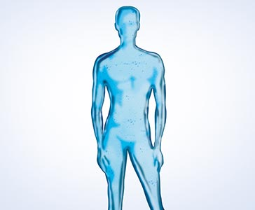 Silhouette of a transparent-blue man